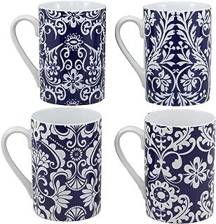 Ebros Elegant Victorian Blue And White Floral Vines Slender Porcelain 8oz Mug 4
