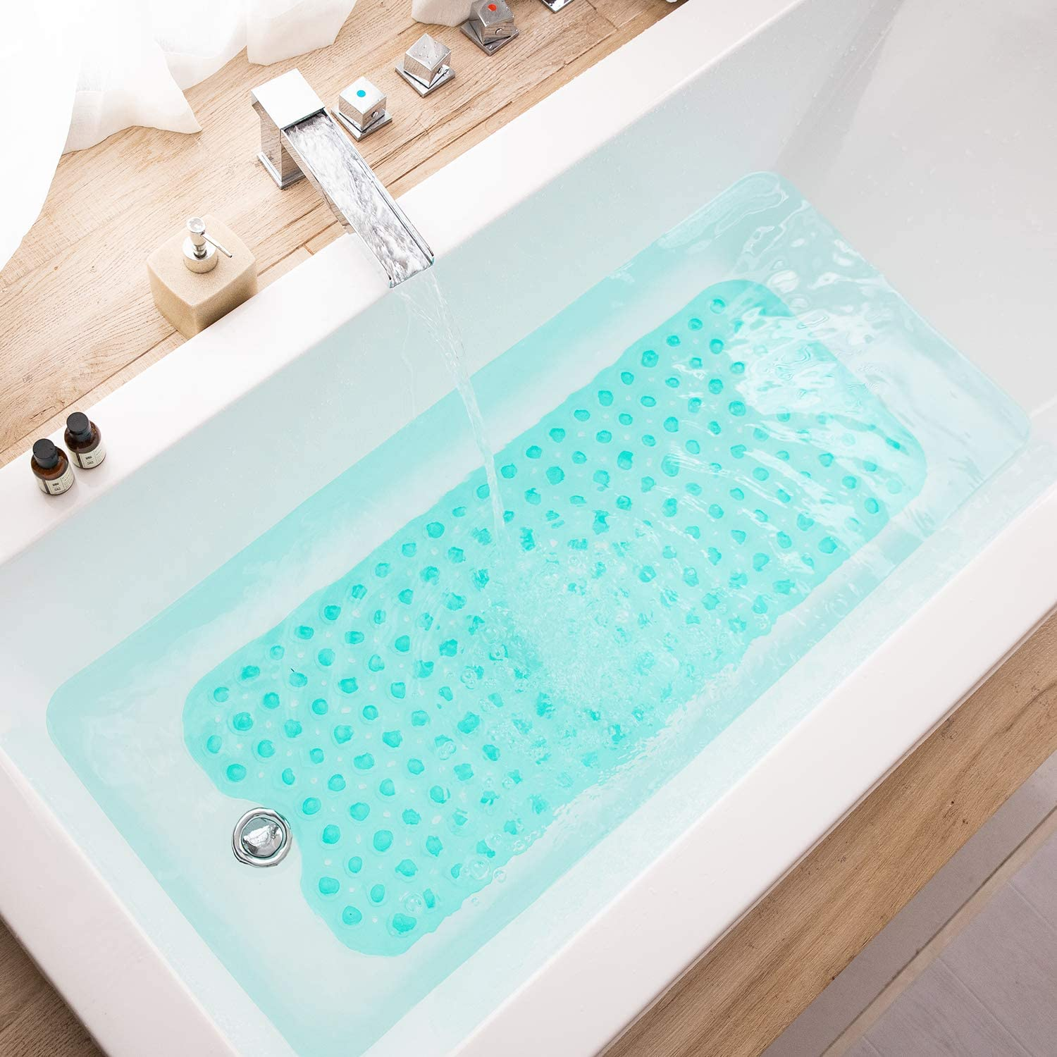 Clear Turquoise Teeshly Bathtub Mats for Shower Tub Extra Long Non-Slip Bath Mat Bath Tub Mat for Bathroom with Machine Washable 39 x 16 Inch Shower Mat with Drain Holes and Suction Cups