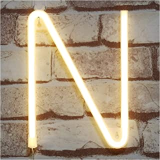 Pooqla Neon Letter Sign Night Lights LED Alphabet Neon Art Lights Wall Decor Light up Words for Wedding Birthday Party Christmas Home Bar Decoration N