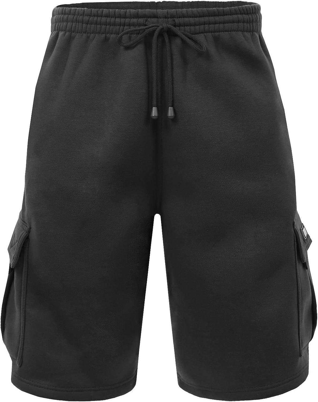 NE PEOPLE Mens Active Comfy Workout Gym Elastic Drawstring Fleece Cargo Sweat Shorts (M-7XL)