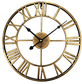 ufengke Bronze Vintage Iron Wall Clock Open Face Sketeton Metal Quartz Clocks with Roman Numerals 16