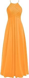 CladiyaDress Women Halter Neck Chiffon Long Bridesmaid Dress Evening Gown D066LF
