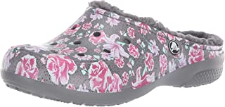 Crocs Women's Freesail Floral Lined Clog   Indoor Outdoor Warm and Fuzzy Shoe or Slipper