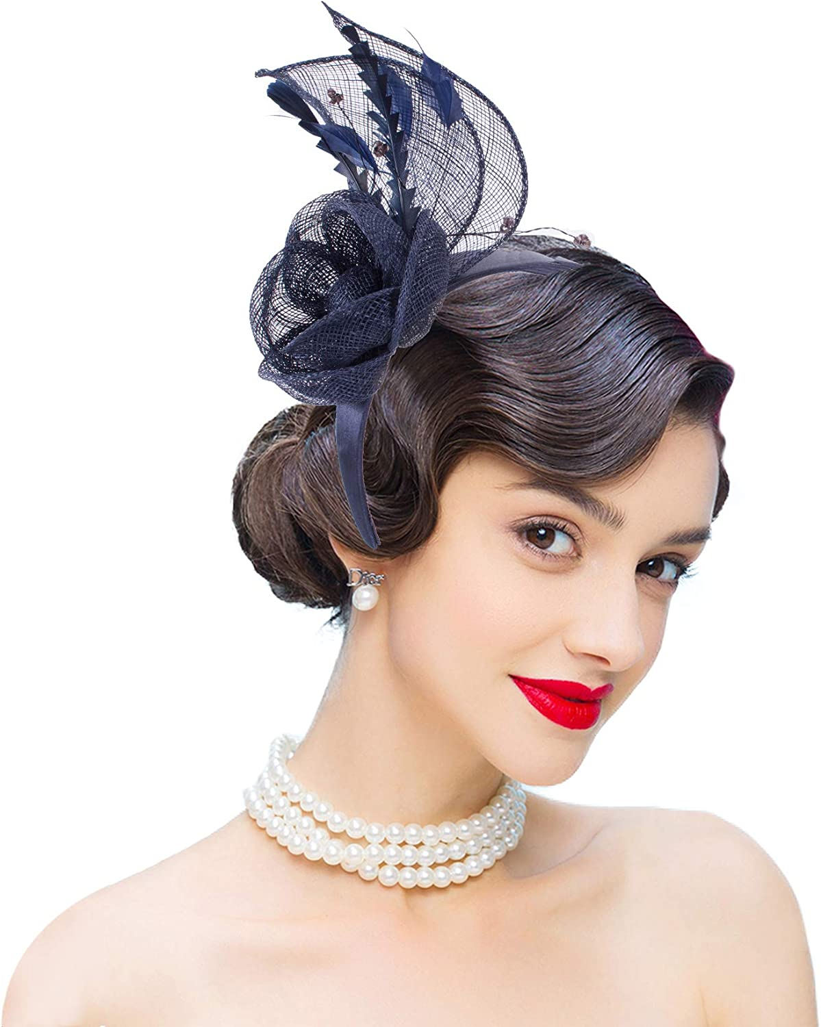 Lawliet Womens Navy Blue Sinamay Feather Floral Fascinator Headpiece T344