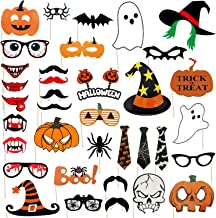 45-Piece Halloween Party Photo Booth Props Kit, Halloween Party Trick or Treat Party Supplies, Including Scary Frankenstein,Pumpkin,Ghost, Vampire ect.