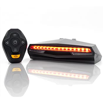 Ampulla Oricycle Rechargeable Bike Tail Light LED - Remote Control, Turning Lights, Ground Lane Alert, Waterproof, Easy Installation for Cycling Safety Warning Light