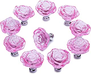 PUQU 10 Pcs Diameter 50mm Clear Crystal Glass Cabinet Door Knobs Handles Pulls Cupboard Handles Drawer Wardrobe Hardware Furniture Decoration DIY (Pink)