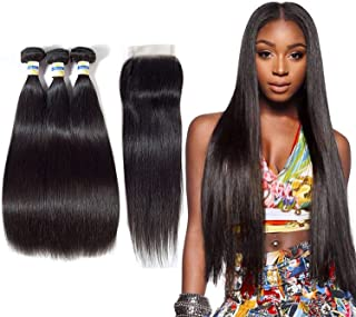 Peruvian Hair Bundles with Closure Body Wave Bundles with Closure 3 Bundles with Closure Non Remy 100% Human Hair,12 14 16 18 & closure10,Natural Color,Middle Part