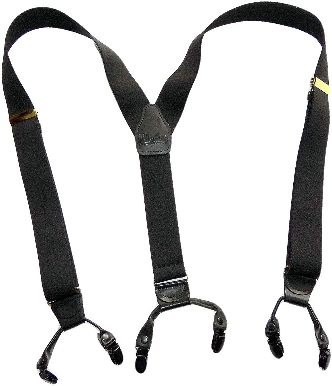 HoldUp Brand XL Casual Series Black Pack color Double-Up Style Suspenders with black No-slip Clips