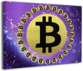 Robprint Original Bitcoin Cryptocurrency Copper Wall Painting Prints Poster Prints Wall Decor for Living Room Bedroom Bathroom Ready to Hang 20 X 16 Inch