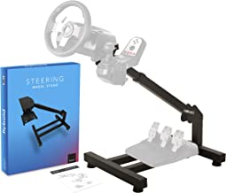 Racing Steering Wheel Stand Gaming Simulator Cockpit with Gear Shifter and Pedal Mount Compatible with Logitech Thrustmaster Fanatec Wheels Height Adjustable Easy Storage Instruction Manual Gift box