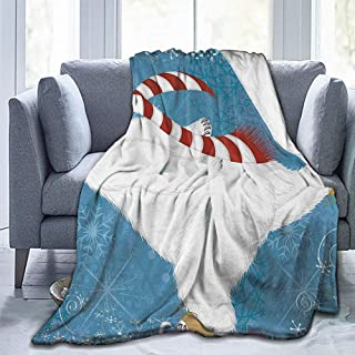Christmas Blankets Throw Blankets Bear Polar Bear with Christmas Hat and Scarf Ice Skating Ornamental Snowflakes and Swirls Blue White-Lightweight Microfiber(93