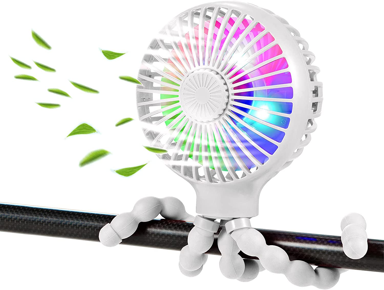 scurry Stroller Fan, Portable Desk Fan, Mini USB Fan, 2600mAH Rechargeable Battery Operated Fan with LED Light and Aromatherapy, Flexible Tripod Design Personal Handheld Fan for Stroller (White)
