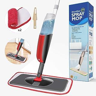 Aiglam Spray Mop, Mopa con pulverizador Limpiador de Ventanas y Escoba Barredora de Empuje Manual con Almohadilla de Microfibra Reutilizable para Suelos laminados, alicatados y de Madera (Rojo)