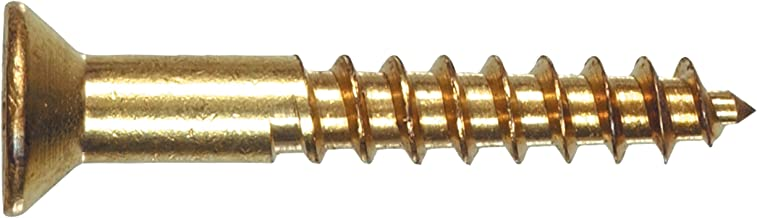 The Hillman Group 2724 8 X 2-Inch Brass Flat Phillips Wood Screw, 20-Pack