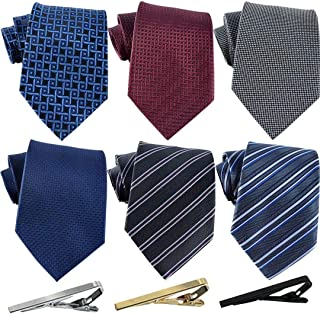 Jeatonge Lot 6pcs Mens Ties and 3pcs Tie Clips, Men's Classic Tie Necktie Woven Jacquard Neck Ties