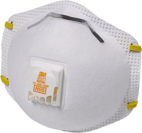 3M - 8511PB1-A-PS 8511 Paint Sanding N95 Cool-Flow Valved Respirator, 10-Pack White