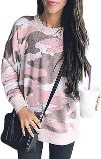 Edjude Sudaderas Mujer Cuello Redondo Manga Larga Sueltos Blusas Camisa Casaul Jersey Otoño Túnicas Color Sólido Teñido An...