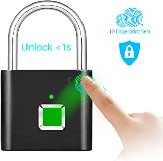 Fingerprint Padlock Keyless, Fingerprint Smart Lock IP65 Waterproof, Security Digital Lock Portable USB Recharge for Locker, Gym, Door, Luggage, Suitcase, Handbags, School, Wardrobes, Black