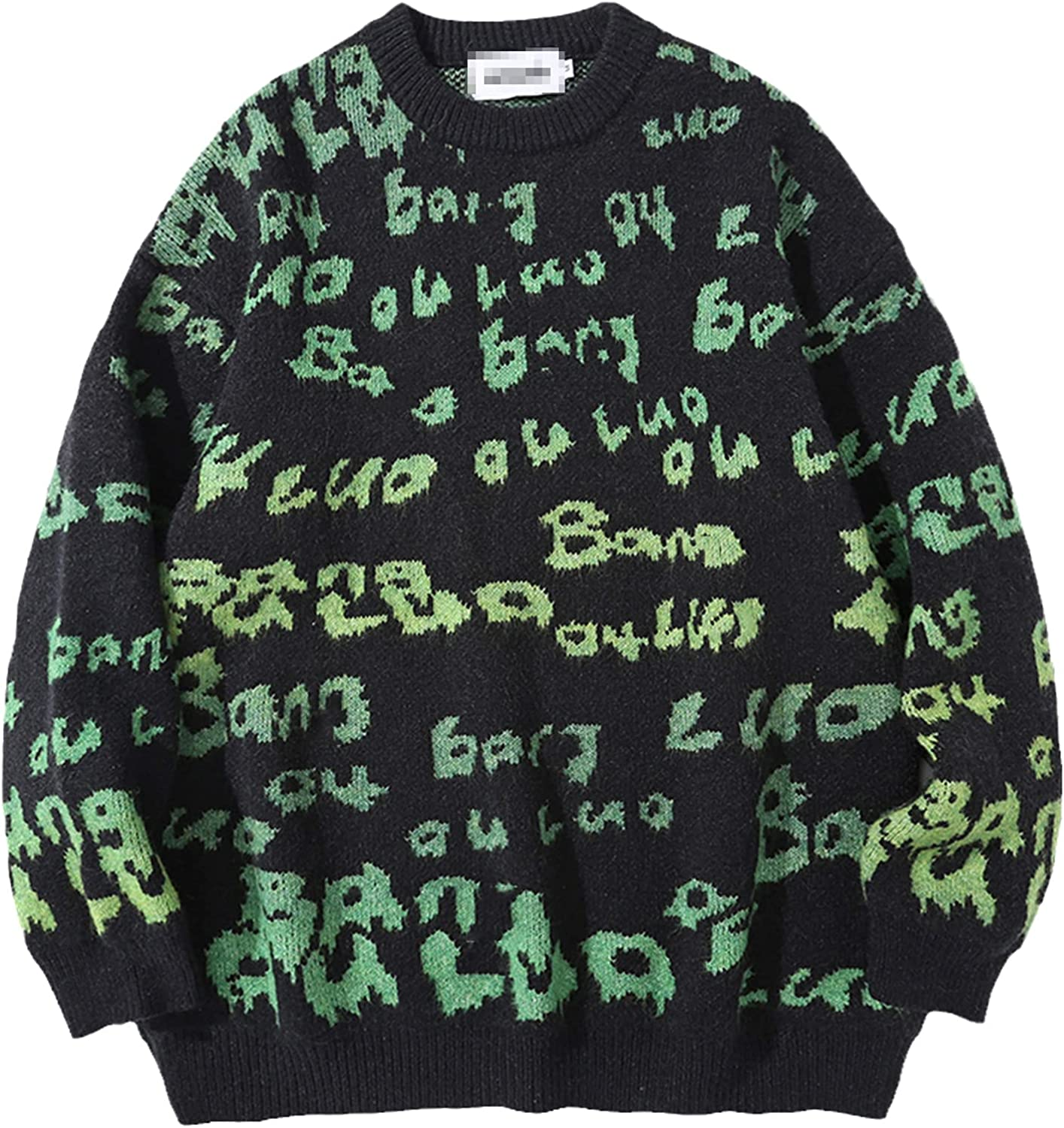 LKIUGVV Men Hip Hop Knitted Jumper Sweaters Letter Full Print Streetwear Harajuku Autumn Oversize Casual Fashion Pullovers