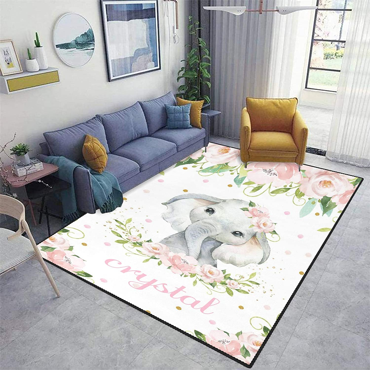 Max 77% Ranking TOP16 OFF Lonely Elephant Pink Flowers Area Carpet Personalized Custom Rug