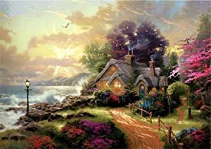 ABEUTY DIY Paint by Numbers for Adults Beginner - Fairytale House Forest Garden Wave 16x20 inches Number Painting Anti Stress Toys (No Frame)