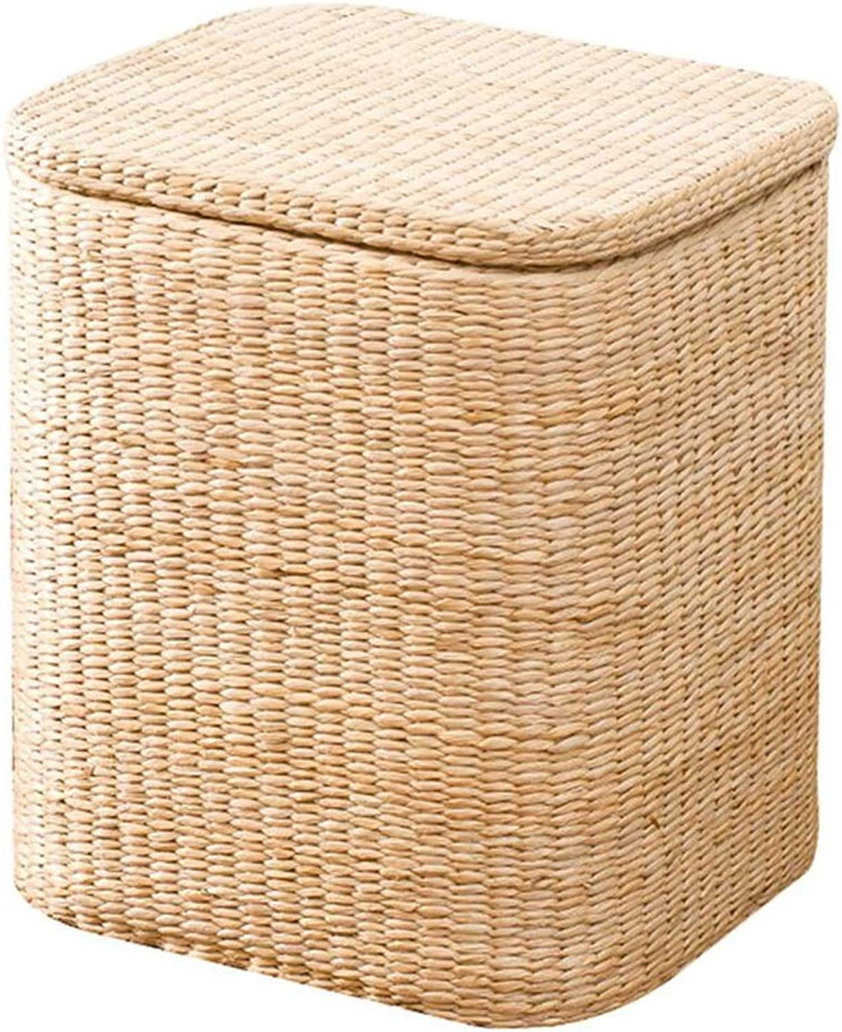 Stools Footstool Step Stool Vine Straw Storage Sort Out Covered Wholesale Footrest Sofa Can Sit Toy CONGMING (color   B-Square-Grass, Size   Small)