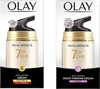 Olay Day Cream Total Effects 7 in 1, Anti-Ageing SPF 15, 50g And Olay Night Cream Total Effects 7 in 1, Anti-Ageing Moistu...