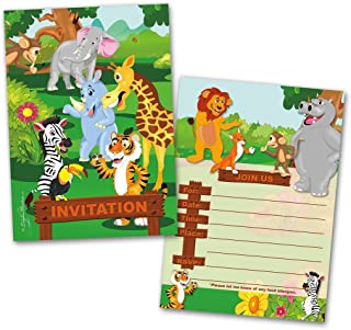 Party Invitation Cards, 20 Cards with 20 Envelopes, Jungle Animals Themed, Flat Style, Colorful Design, Birthday Invitations, Party Invitations, Invitation Card, Birthday Party Invitation