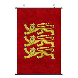 Nice Captain Medieval Coat of Arms Scroll Poster Middle Ages Banner Wall Art Home Decor 75x50cm (Kingdom of England)