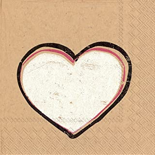 Ideal Home Range 20-Count Brown Paper Paper Cocktail Napkins, Heartbeat