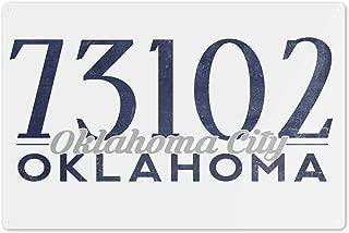 Lantern Press Oklahoma City, Oklahoma - 73102 Zip Code (Blue) 67414 (6x9 Aluminum Wall Sign, Wall Decor Ready to Hang)