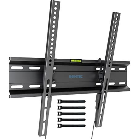 """BONTEC Ultra Slim TV Wall Bracket Mount for 23""""-55"""" LCD LED 3D Plasma TVs, Low Profile Tilt TV Wall Mount up to VESA 400x400mm, 45kg Weight Capacity with Spring Locking System, Includes 5 Cable Ties"""
