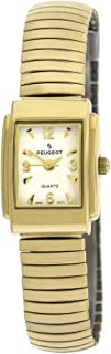 Peugeot Women Tank Shape 14KT Gold Plated Wrist Watch - Easy Reader with Flexible Expansion Bracelet
