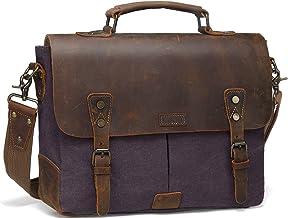 Umhängetasche Herren,VASCHY Wasserabweisend 14 Zoll Laptoptasche für Arbeit Echtes Leder Segeltuch Schultertasche Vintage Männer Aktentasche Business Herrentasche für Hochschule Schule ReiseGrau