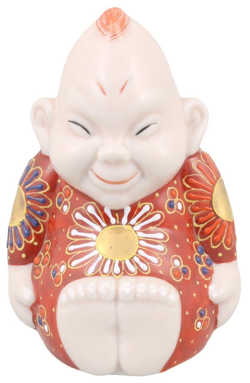 美容師卑しい説得力のある九谷焼 福の神 ビリケン 3号 赤茶盛 A-0024