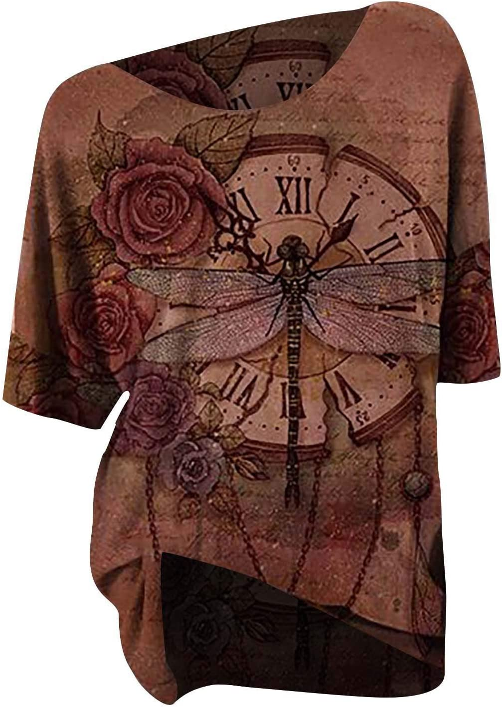 Vintage Tees for Women Retro Floral Top Special price Print Directly managed store Clock Sleeve Short