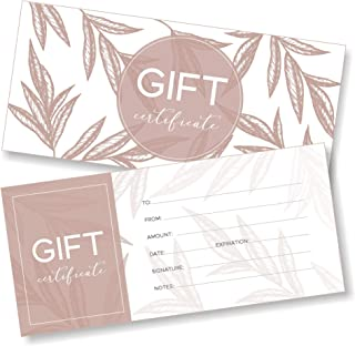 25 Blank Gift Certificates for Business - Pastel Leaves Design - Size 4