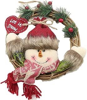 NINI MA Christmas Wreath Christmas Rattan Pendant Door Hanging Old Man Snowman Deer Christmas Decoration Hanging Wreath (Snowman)