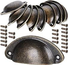 10 pcs Tiradores de Metal Vintage Bronce Manillas Manijas para Puertas de Muebles Antiguos Armarios Cajones de Habitación Cocina Baño?con Tornillos
