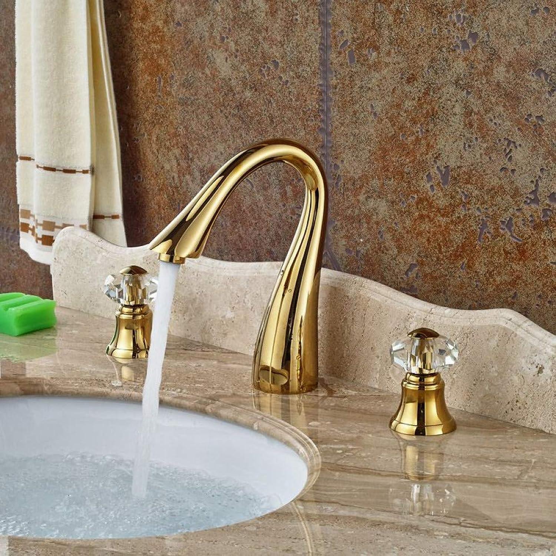 ZHFJGKR&ZL Tap Double Handle gold Faucet Deck Inssizetion Bathroom Bathtub Sink Faucet 3 Hole Hot Water Faucet