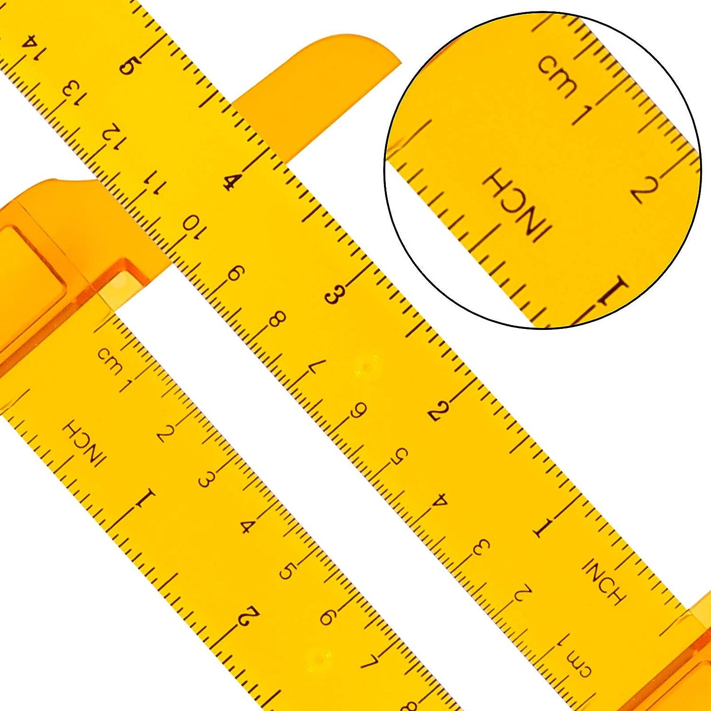 Orange Transparent T-Ruler picidae 4 Pcs 12 Inch// 30 cm T-Square Ruler Plastic Scale Ruler for Drafting and Measuring