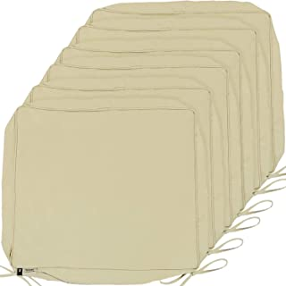 Outdoor Cushion Covers, 6-Pack Deep Seat Patio Cushion Cover, Outdoor Furniture Lawn Couch Sofa Chair Seat Cushion Replacement, 24 x 22 x 4 Thick, Set of 6, Beige