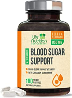 Blood Sugar Support Supplement Extra Strength 20 Herbs & Vitamin Blend 1197mg - Made in USA - Best Vegan Multivitamin Blen...