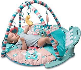 Tapiona Large Baby Play Gym, Kick and Play Piano Infant Activity Mat for Babies 0+, 5 Baby Activity Toys, Kick Piano, Flashing Moon Toy with Lights, Pillow
