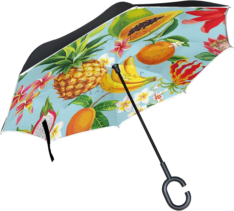 Mydaily Double Layer Ingreened Umbrella Cars Reverse Umbrella Tropical Fruits Flowers Summer Windproof UV Proof Travel Outdoor Umbrella