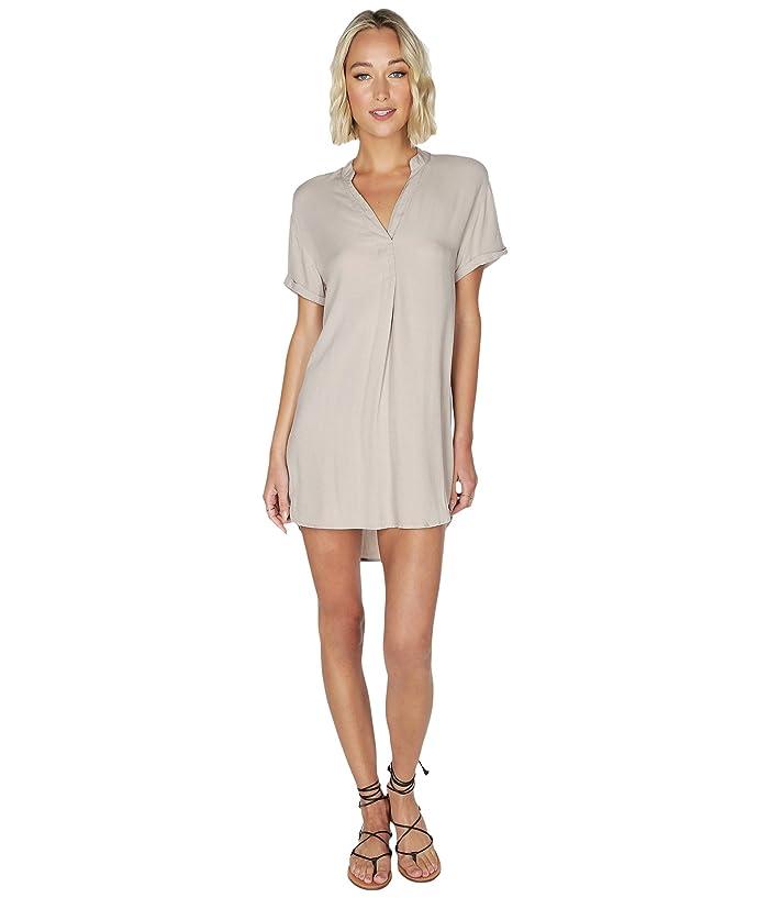 bobi Los Angeles  Shirtdress in Rayon Crepe (Tan) Womens Dress