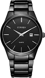 Men's Stainless Steel Wrist Watch Black Quartz Watch for Men