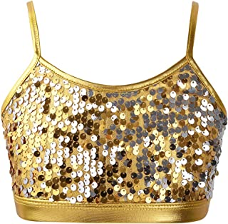 Kaerm Kids Big Girls Spaghetti Shoulder Straps Sparkly Metallic Crop Tops Bra Ballet Dance Tank Tops