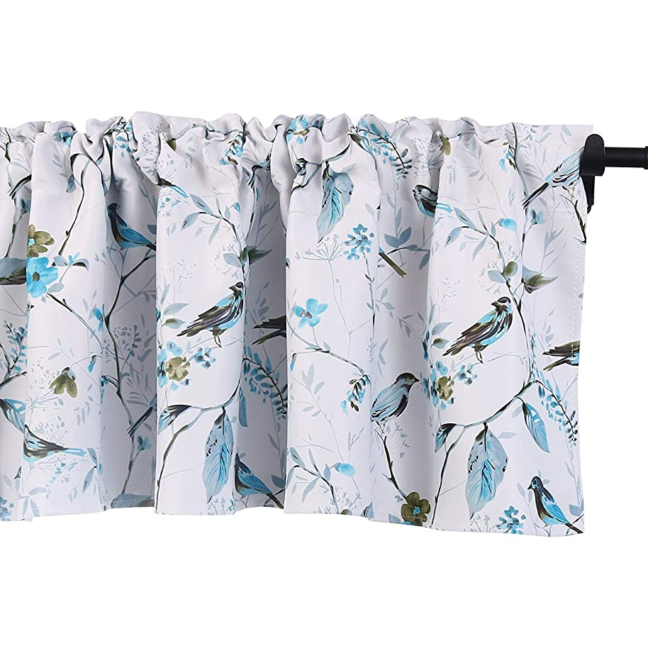 HOLKING Farmhouse Kitchen Valances for Windows Bird Printing Valance Curtains Treatments 18 Inch Long with Rod Pocket(1 Panel,Blue)